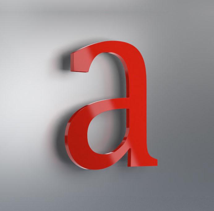 Acrylbuchstabe rückleuchtend Muster