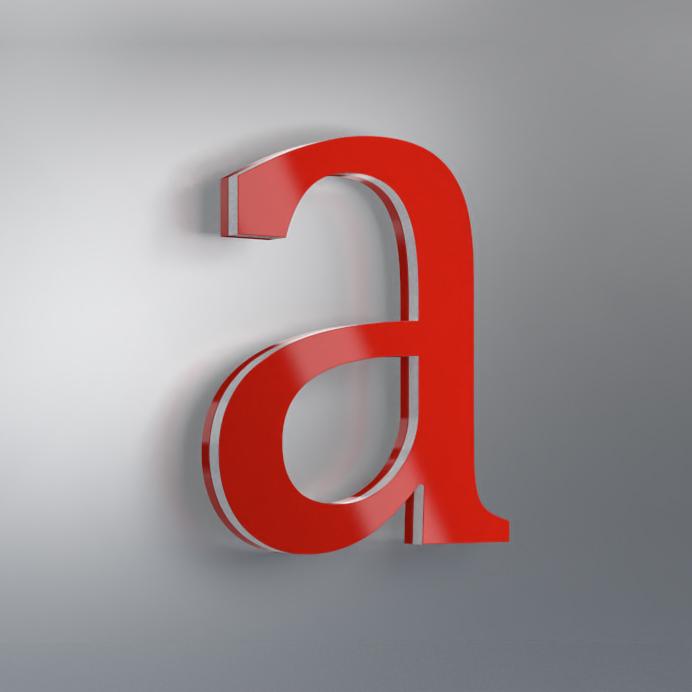 Acrylbuchstabe rück- und seitenleuchtend Muster
