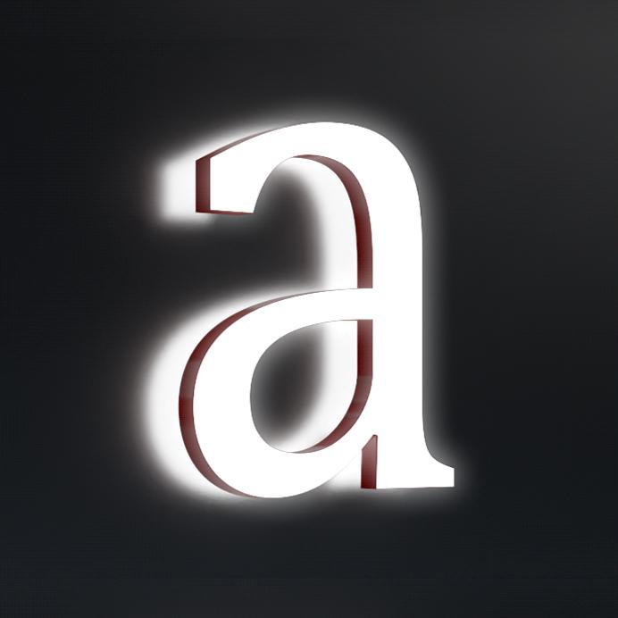Acrylbuchstabe front- und rückleuchtend Muster