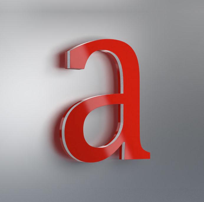 Acrylbuchstabe front- und seitenleuchtend Muster